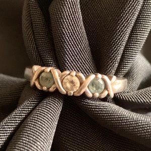 Aquamarine & Zirconia Sterling Rings Size 6.5